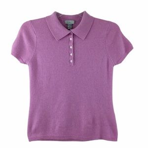 Geneva 5-button Pink Cashmere Polo Style Sweater